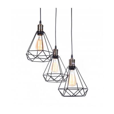 Lampa wisząca Lumina Deco LDP-11609-3-BK Cobi W3