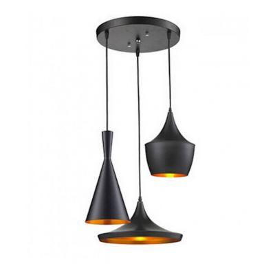 Lampa wisząca Lumina Deco LDP 7712-3 (BK) Foggi W3