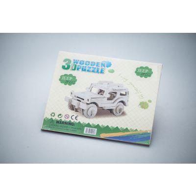 Drewniane klocki, zabawka ekologiczno-edukacyjna  - Jeep