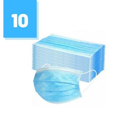 Zestaw 10 szt. - Maski trójwarstwowe ochronne do użytku cywilnego i medycznego z elastycznymi gumkami