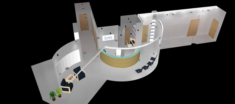 Projekt kliniki - korytarz